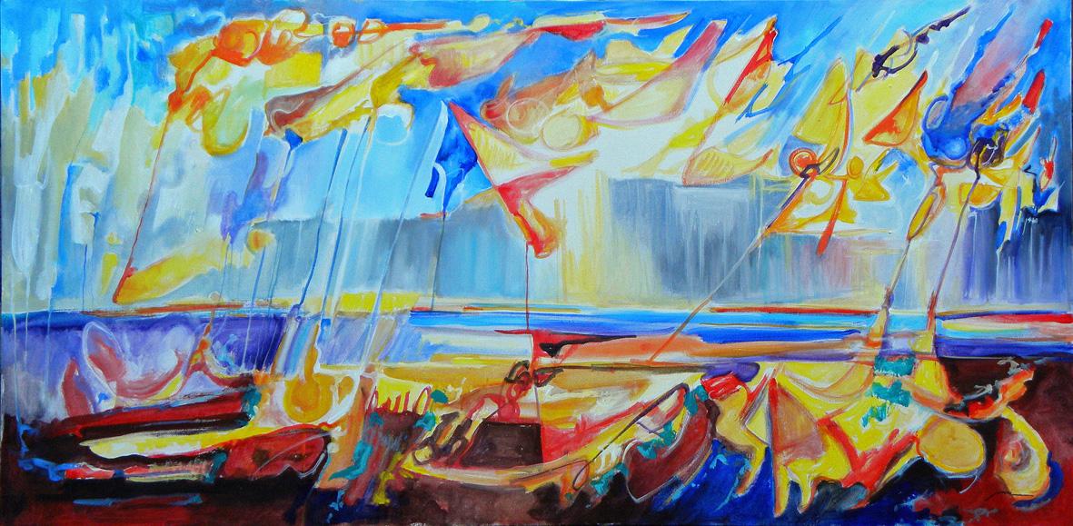 Gaetano Vari, La condizione umana. 2011, Cm 60x120, olio e acr. su tela